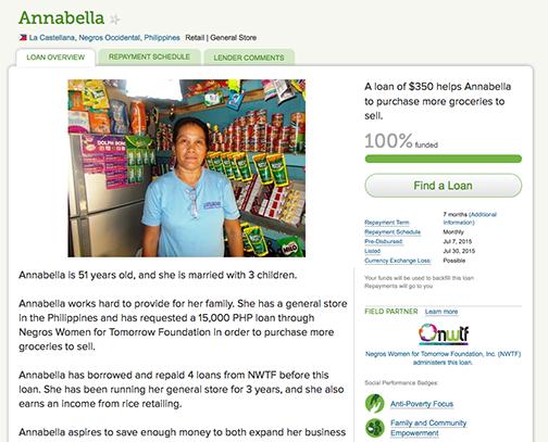 Mikrokredit für Annabella von den Philippinen